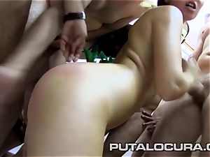 Latina ginger-haired prepped for all the rods to spunk after mass ejaculation