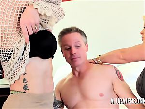Alura Jenson cougar three-way pulverize with Brandi May