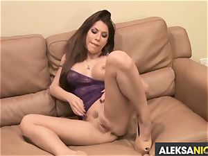 sassy Alexa Nicole torments her running in rivulets pantie pot