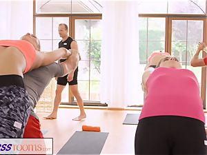 FitnessRooms group yoga session ends with a internal ejaculation