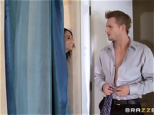 large breasted Ava Addams cheats in the douche