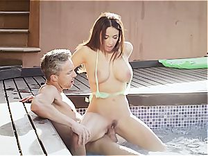 huge-boobed wonder stunner Anissa rails a spear by the pool