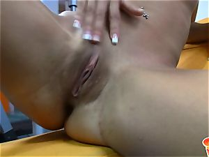 Sabrina blond diddling her puss at the gym