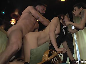 sizzling brunette group-fucked in crowded bar