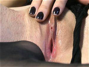 wondrous stunner Sasha Grey gets her pink vulva pummeled rigid by her toy till she pops