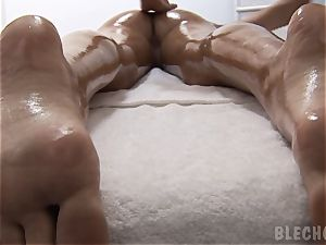 wondrous and tall model Nessa devil lubricates herself up for a super hot girl-on-girl rubdown