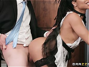 red-hot dark-hued maid nearly get caught