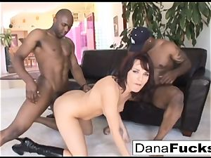 Dana gets her caboose inserted with a immense black stiffys