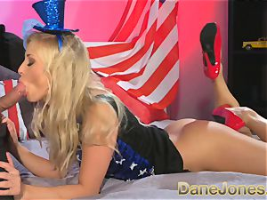 DaneJones blond celebrates freedom with Abe Lincoln
