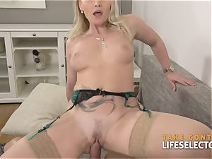 Kathia Nobili - big-chested platinum-blonde satisfied With lollipop