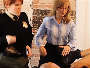 SEXYMOMMA-Ebony jail guard strap on dildo torn up in the bootie