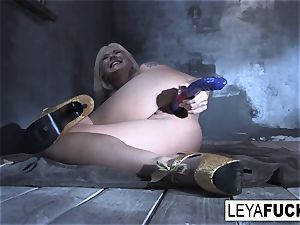 Leya Falcon tucks fuck-a-thon toys in both her slots