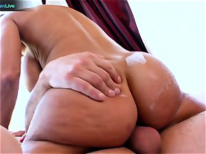 Lisa Ann enjoys sitting into Toni Ribas fat boner