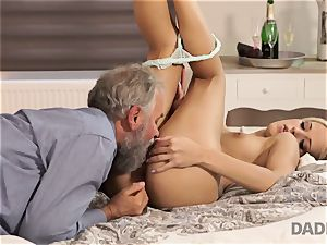 DADDY4K. chick rides elder gentleman s joystick in daddy pornography flick