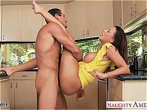 black-haired wifey Rachel Starr taking sausage in kitchen