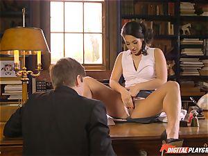 Headmistress Eva Lovia plays with her super-naughty student