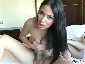 Anissa Kate wanks a weenie with her gigantic breasts