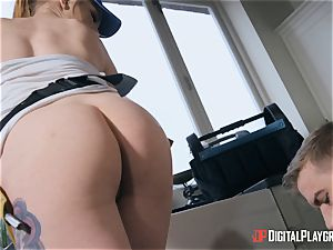 nymph plumber sits her muff on monster dick on the job