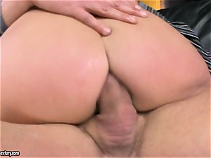 Lexy lil' gets two bulky meatpipes clogged in her taut crevasses making her groan