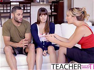 warm lecturer Tricks schoolgirls Into three-way screw