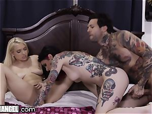Joanna Angel and puny arms pulverize the nanny hard