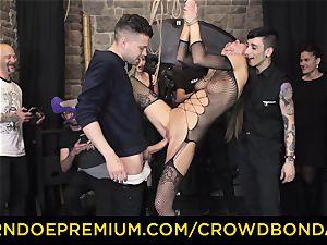 CROWD bondage - extreme sadism & masochism boink wheel with Tina Kay
