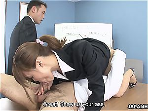 whorish assistant has to deep-throat her playmates' hard-ons