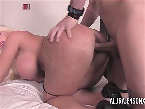 ample funbag platinum-blonde Alura Jenson banging a nervous client