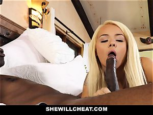 SheWillCheat cheating wife devours dark-hued manstick