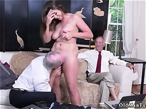 elderly nymph phat mammories Ivy amazes with her ginormous bra-stuffers and booty