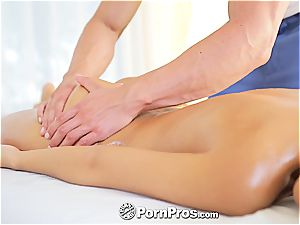 beautiful Lola rides a sausage after a steaming massage