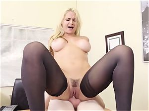 buxom blonde manager Sarah Vandella seduces young employee