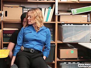 super-fucking-hot platinum-blonde LP Officer Krissy Lynn gets tear up by a Shoplifter
