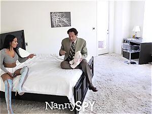 NannySpy Lonely parent seduces dark-haired nanny Amia Miley