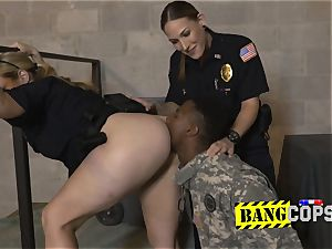 Fraudulent soldier gets his trunk deep throated and taken by pervy cougar cops