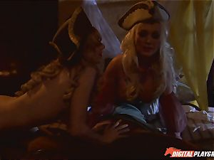 Pirate catapults his stiff meat sword into Devon and Teagan Presley