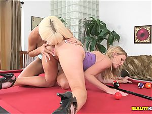 cunt lovin milfs Kasey Storm and Brianna Ray make it out on the pool table