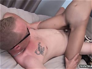 asian stunner deep throating them getting sausage banged real fine