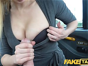 faux cab big-titted platinum-blonde mummy Amber Jayne deep throats and porks