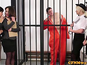 CFNM police femdom jacking off prisoner