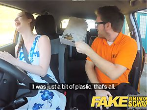 faux Driving college Nerdy redhead teen college girl