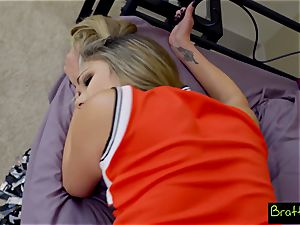 teenager cheerleader nails her stepbrother
