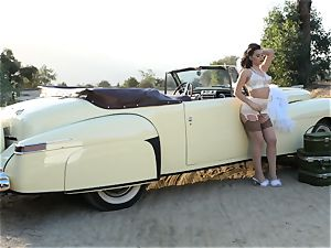 Lana Rhoades vintage car labia have fun