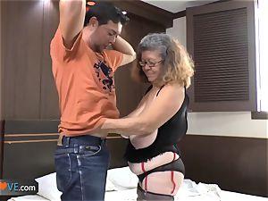 AgedLovE Latina plump grandmother penetrating twunk