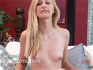 Alexa grace flashes her taut muff and kneads her clitoris