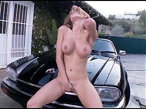 Randy Alexa Nicole tortures her dribbling pantie pot