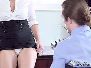 PUREMATURE secretary cougar Cory pursue anal invasion humped