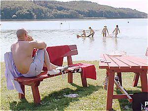 successful man having a supreme time at the lake pt 1