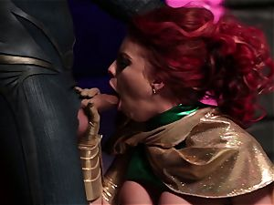 Britney Amber sucks off a insatiable superhero