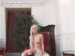 giant breasted french blond babe Chloe Lacourt rides big pole trunk